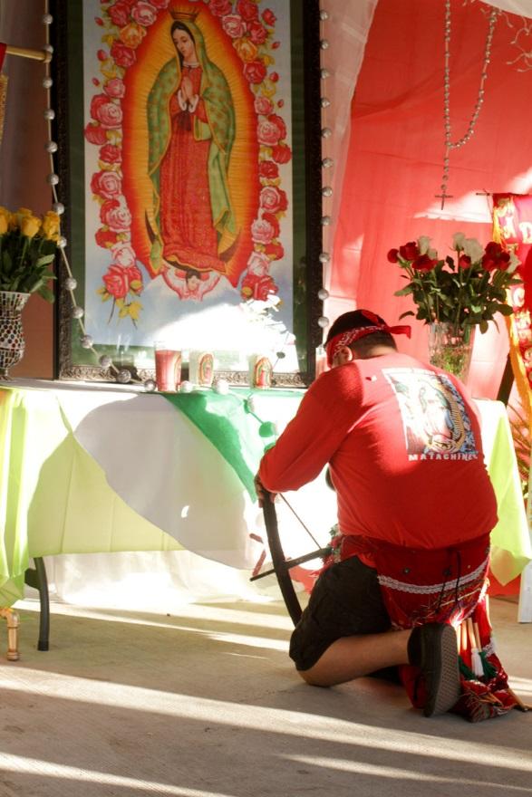 Danzante honoring La Virgen de Guadalupe.