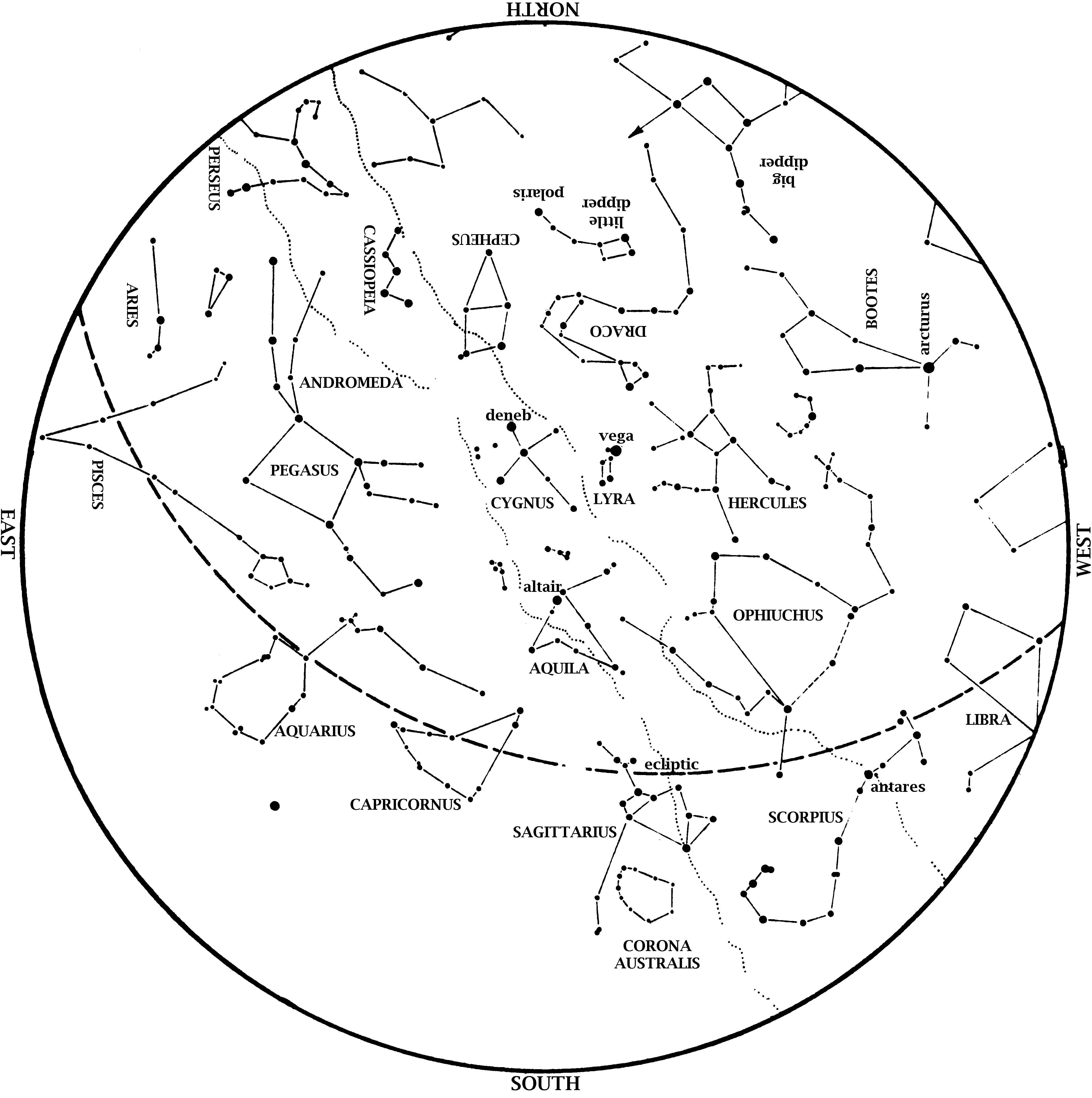 Star Map September BEYONDbones - Star map northern hemisphere