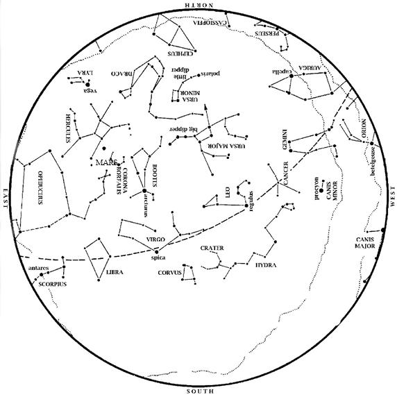 Mayıs ayı boyunca yıldızların ve gezegenlerin haritası