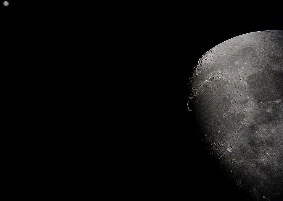 Image of the moon through a telescope